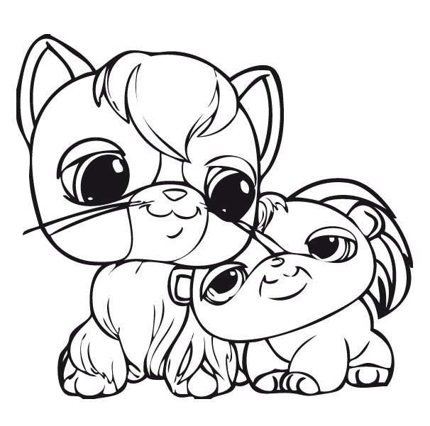 Tiernos gatitos para colorear for Littlest pet shop coloring pages panda